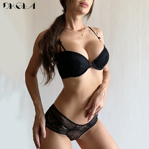 Image 2 - Front Closure Bra Panties Sets Lace Embroidery Women Lingerie Set Gather Brassiere Black Thick Push Up Bras Sexy Underwear Set