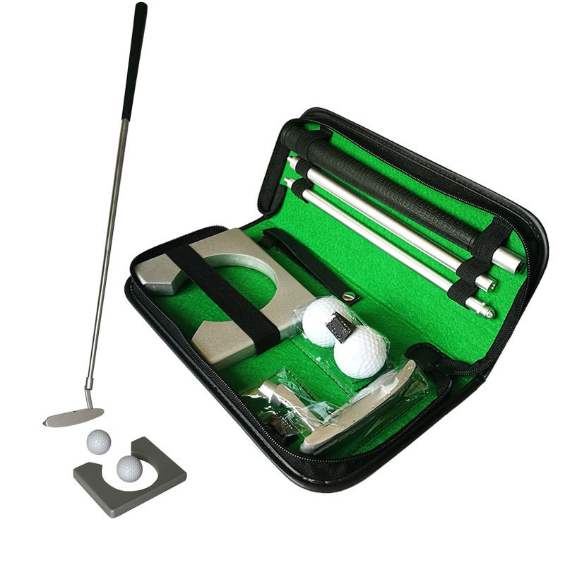 Portable Golf Putter Gifts Kit With Golf Ball Hole-Cup For Travel Indoor Outdoor Tranning Golf Putting Practice