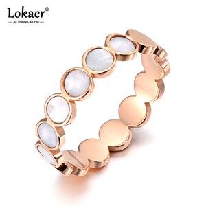 Lokaer Titanium Stainless Steel Fine Brand White Shell Rings Bridal Wedding Engagement Ring Jewelry For Women Girls R19113