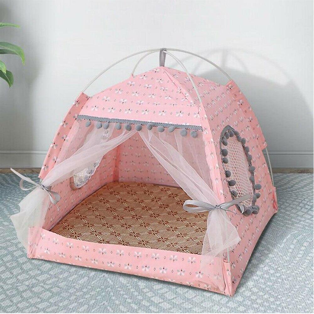 Прорезыватель для кошек и собак с подушкой и доской, портативные палатки для собак и дома для домашних животных, Вуд, холст, складная палатка для домашних животных, маленькая кровать для животных