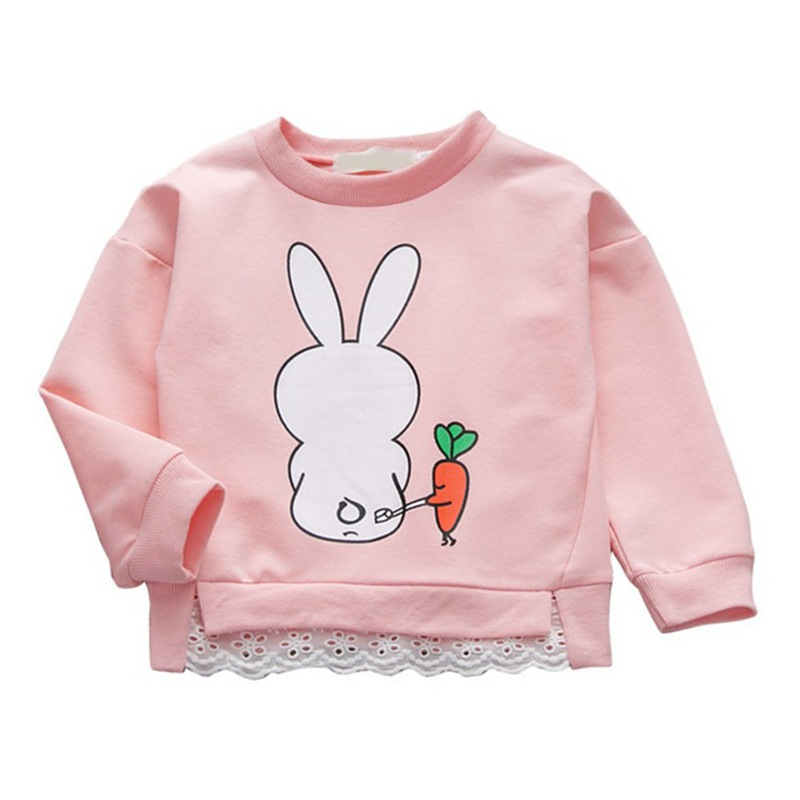 Girls Sweatshirts Blouse Baby Boys Children Cartoon Rabbit Autumn Cotton Tops Long-Sleeve