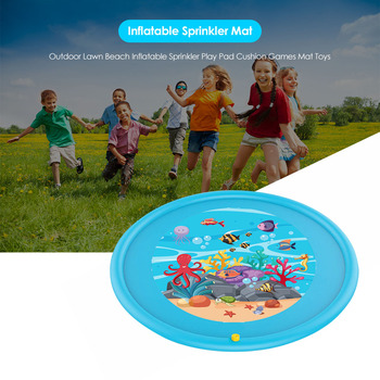 Baby Inflatable Water Mat Cushion Pad Round Shape Water Play Mat Tummy Activity Center for Kids Baby Playing Toys