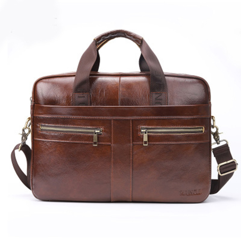 Genuine Leather Briefcase Men Leather Laptop Bag Fashion Business Computer Bag Messenger Briefcases Male Travel Shoulder Bags