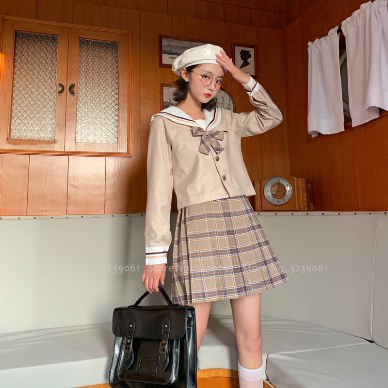 Women Girls JK Suit Japanese Kawaii Navy Sailor High School Uniform Korean Academy T-shirt Pleated Skirts Anime Cosplay Costumes