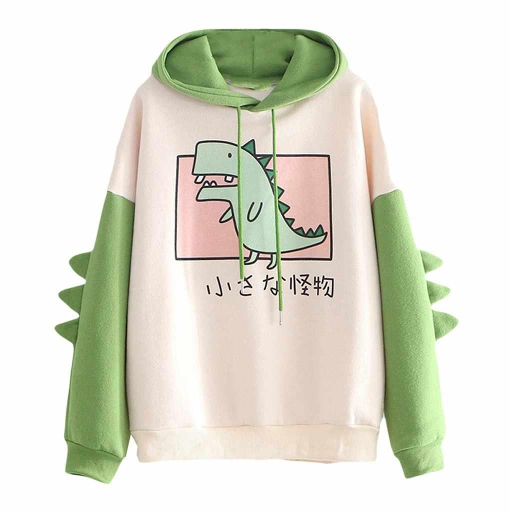 Hurrybuy Womens Long Sleeve Casual Dinosaur Printed Sweatshirt Crop Top Hoodies