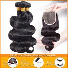 Lanqi mechones de ondas corporales con mechones de cabello humano brasileño, postizo, mechones de pelo peruano con encaje frontal, con cierre