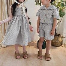 Schwester und Bruder Kleiden Mädchen Jungen Plaid Sets Bluse + Shorts Gilrs Ärmelloses Kleid Sommer Kinder Anzug Koreanische Stil Baby kleidung