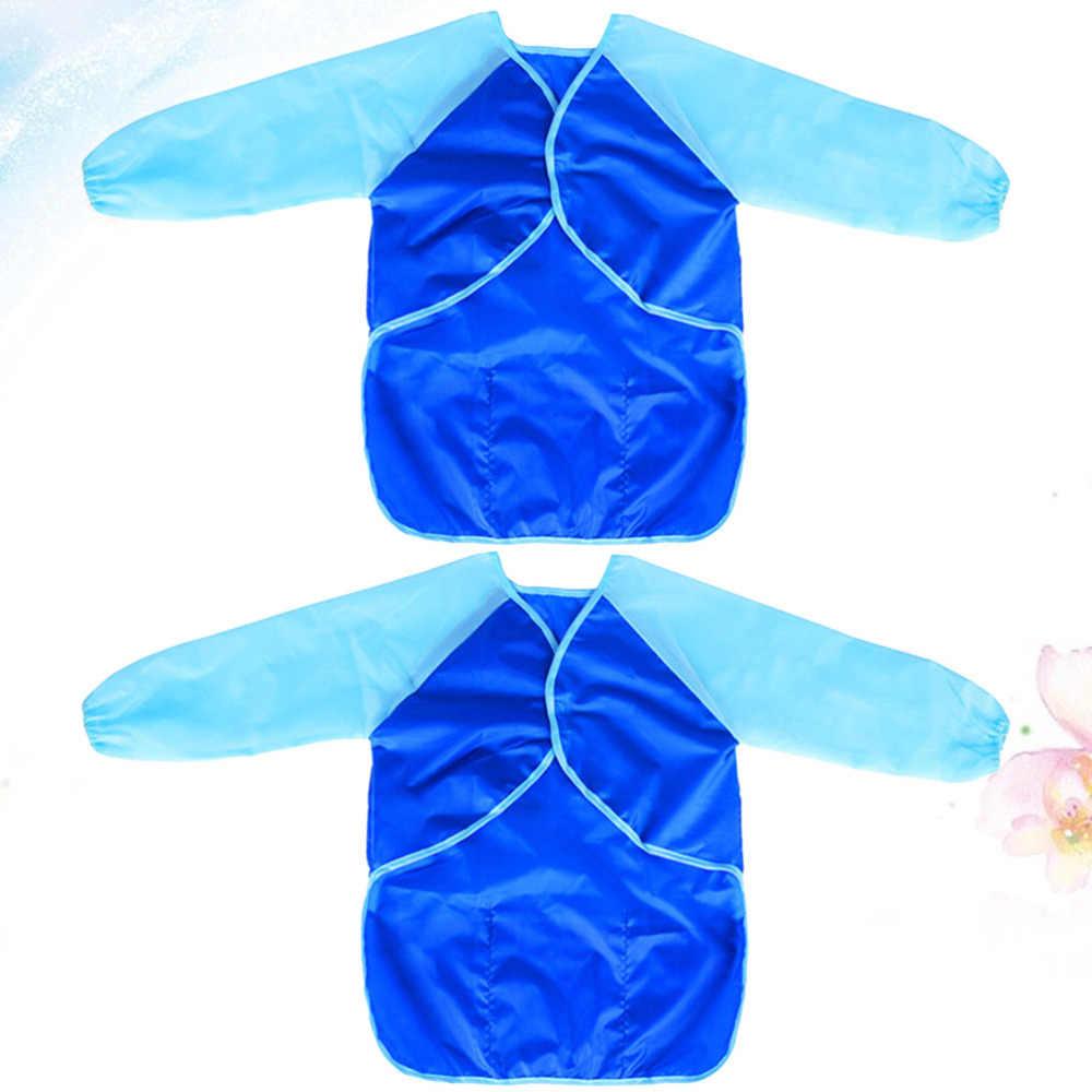 2pcs ארוך שרוול אמנות ציור סינרים עמיד למים PVC מצופה סינר מטבח אנטי עכירות סינר לילדים ילדים (כחול)