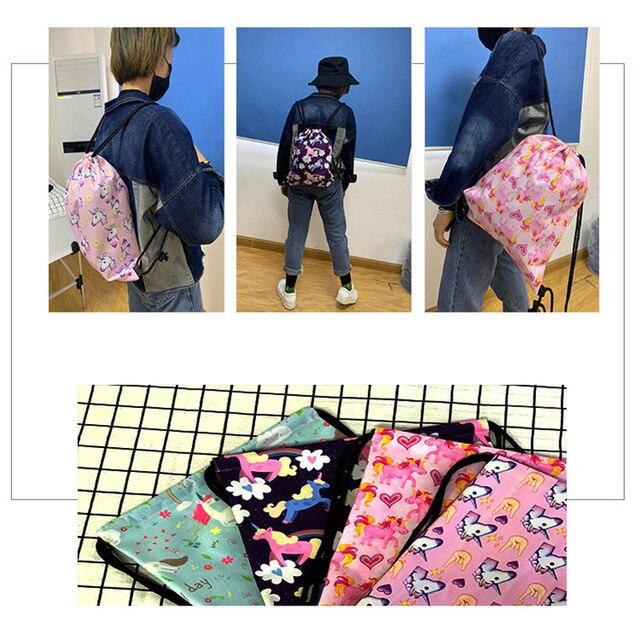 Cute Animal Sloth Print Drawstring Bag Ladies Storage Bag Women Fashion Shopping Bags Teenager Boys Girls Backpack Bookbag 6