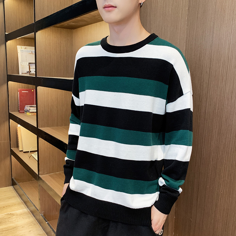 Autumn And Winter 2019 New Korean Men's Sweater Trend Pure Cotton Knitwear Stripe Sweater