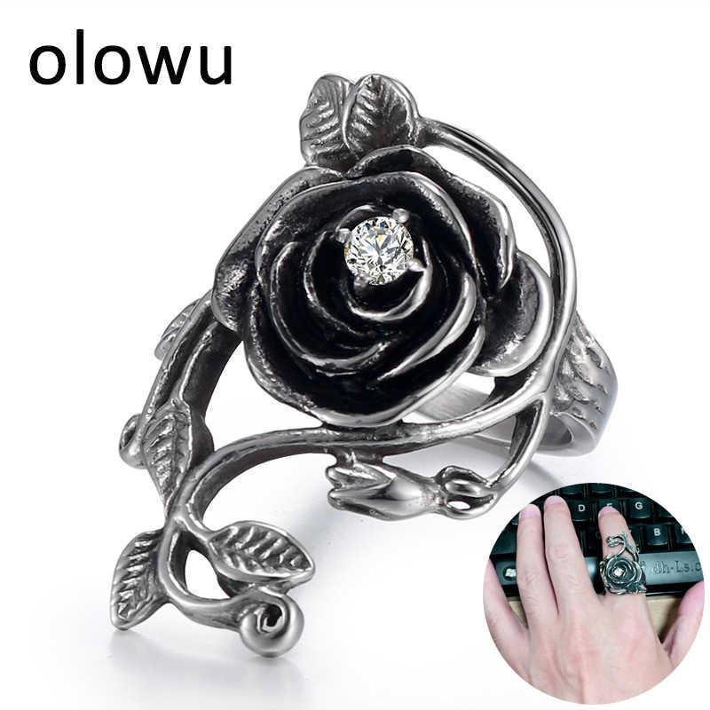 Olowu античное серебряное кольцо с черными розами простое из нержавеющей стали для