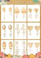 Korean Version of The Simple Asian Gold Earrings Personalized Pearl Hot Sale Drop Jewelry