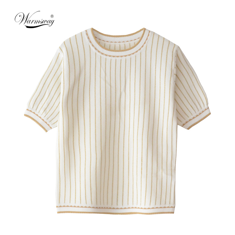 High Quality Spring Summer 2020 New Women Striped  Round Neck Short Sleeve Knitted Top Classic CY-103