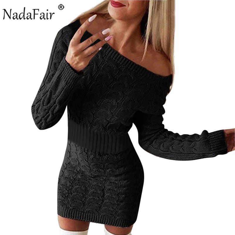 فستان سترة من Nadafair للسيدات لخريف قصير بأكمام طويلة أنيق وردي أبيض أسود محبوك فستان شتوي من Bodycon فساتين للسيدات