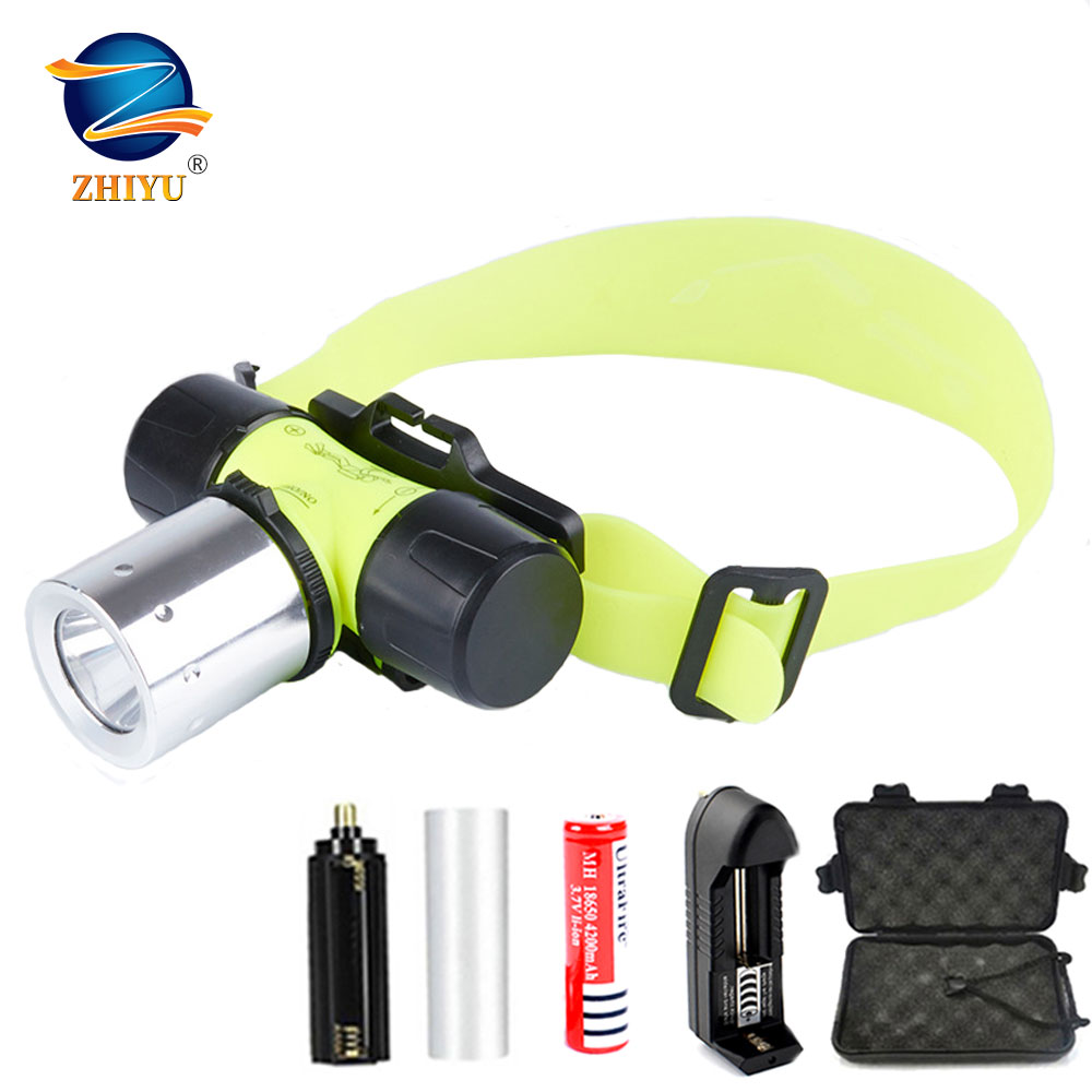 ZHIYU Diving Headlight LED Flashlight High Power Super Bright T6 Headlamp Waterproof Scuba Diving 18650 Light Head 3 Model Torch
