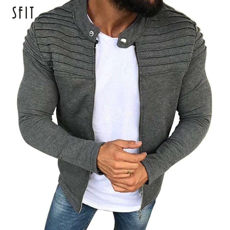 SFIT Jacket Men Winter Autumn Streetwear Windbreaker Mens Hoodie Pleats Slim Stripe Raglan Zipper Sweatshirt Male Coats Jaqueta