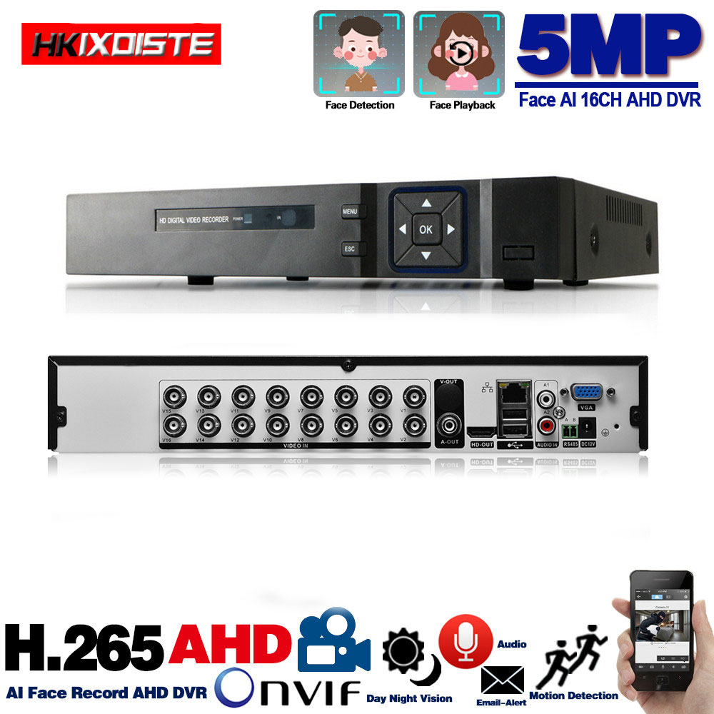 16 Channel AHD DVR 5MP 16CH AHD CVI TVI DVR 2592 1944 5MP CCTV Video Recorder Hybrid DVR NVR HVR 6 In 1 Alarm Security System