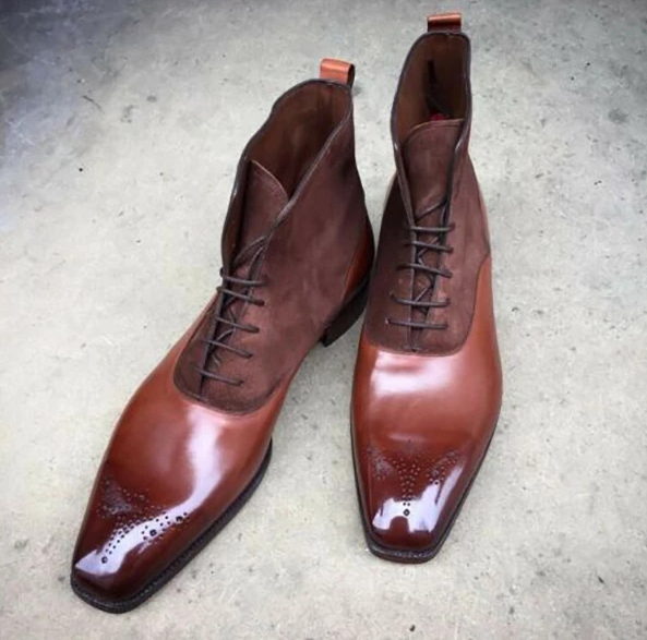 Men Leather Shoes High Heel Casual Oxford Shoes Dress Shoes Brogue Shoes Winter Ankle Boots Vintage Classic Male Casual  D359