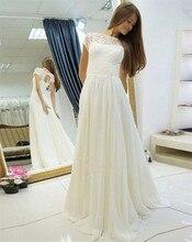 2020 New simple Lace Chiffon SCOOP Wedding Dresses Short Sleeves Bride Gowns robe de mariee vestidos novia