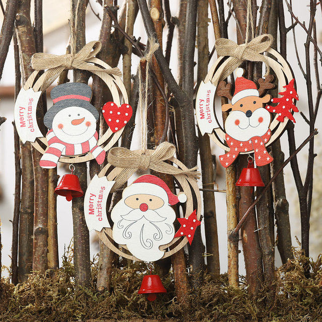44 Types Christmas Tree Decoration Ornament Santa Clause Elk Star Wooden Hanging Pendant Xmas Christmas Party Decor for Home 22