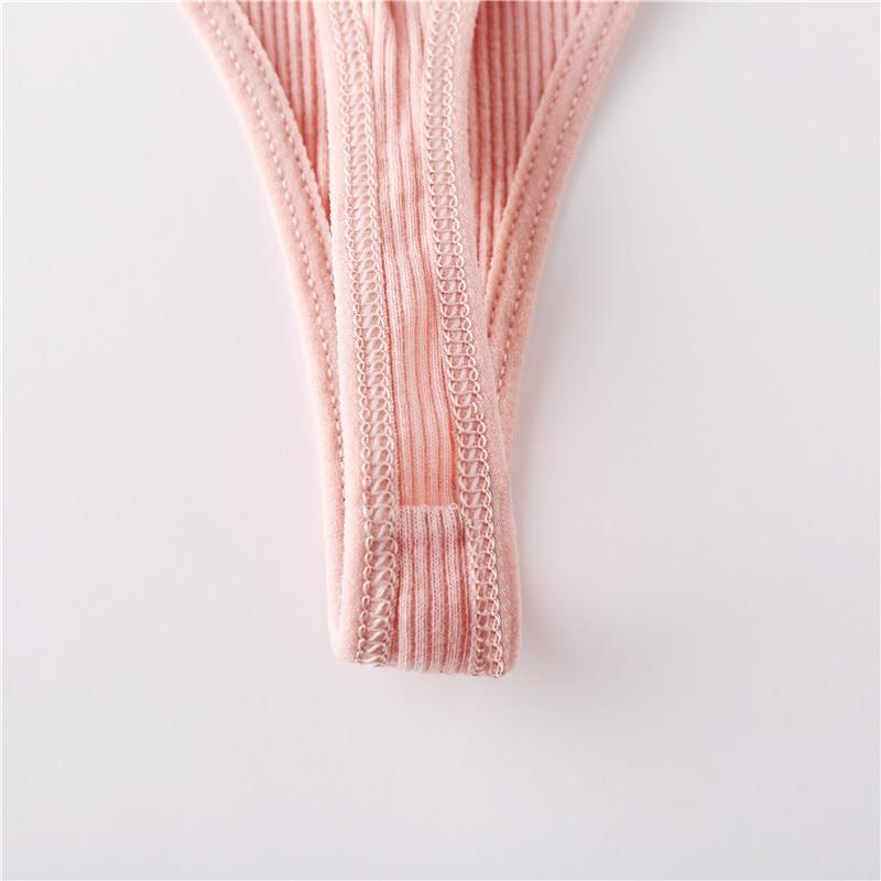 Cotton Thongs Women Sexy V Waist G-String Comfortable Striped Thong Panties Women T-back Underpants M-XL Female Bikini - underwear