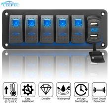 5 Gang สลับ Rocker แผงสวิตช์กันน้ำดิจิตอลจอแสดงผลแรงดันไฟฟ้า Outlet ผสม4.2A Dual USB พอร์ตสำหรับ Marine Car รถบรรทุก