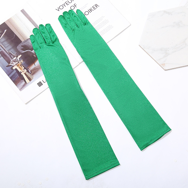 Long Green Opera Satin Evening Gloves Gold Stretchy 1920s Cosplay Rosy Gloves Prom Party Dance Gloves For Lady Guates Novia