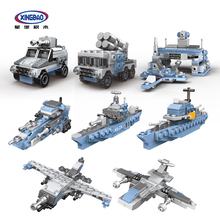 XINGBAO Lepined Military Army Series 8 IN 1 Missouri Battleship Model Building Blocks Armored Vehicles Fighter Cruiser Kids Toys assembly model 1 7 00 bb 63 world war ii missouri battleship model 31613