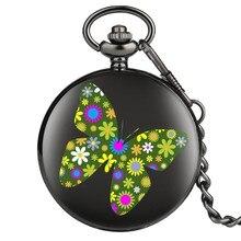 Çiçekler ve kelebekler güzel şık kuvars cep saati zincir saat erkekler kadınlar siyah kasa kuvars Steampunk hediye öğesi cep saati