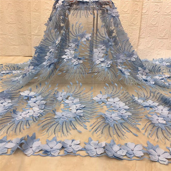 3D Flower sequins High Quality Nigerian Tulle Lace Fabrics Latest Beaded Mesh African Lace Fabric Bride French Net Lace Fabric