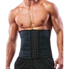 sportswear 100% Latex Men Waist Trainer Corsets with Steel Bone Sweat Belt Sauna Suit for Fitness