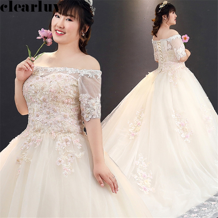 Train Wedding Dresses Champagne Pearls Wedding Gown T277 Free Shipping Elegant Plus Size Vestido De Novia Boat Neck Bride Dress