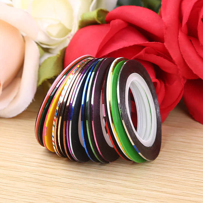 10 stks/partij Mix Kleuren Beauty Rolls Striping Decals Folie Tape Line Nail Art Decoratie Sticker DIY Nail Tips Nail Manicure gereedschap