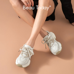 Женские кроссовки в стиле ретро BeauToday, разноцветные кроссовки из натуральной кожи на шнуровке, весенняя женская обувь ручной работы, 29357