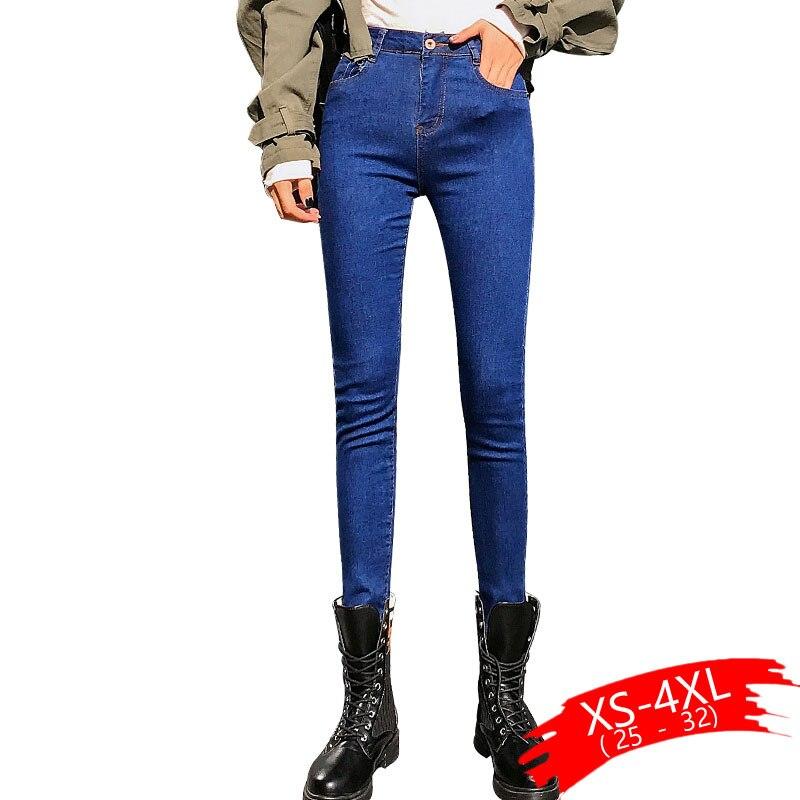 Women Skinny Jeans Black Blue Hole Denim Jeans Women Ankle-lenght New Autumn Tight Skinny High Waist Female Pencil Casaul Jeans