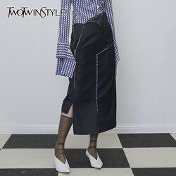 TWOTWINSTYLE التنانير غير المتناظرة للنساء عالية الخصر غير النظامية الصوف الجانب سبليت تنورة الإناث 2019 الملابس الموضة المد