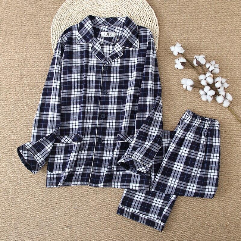 Mens Pajamas Men Sleepwear 100% Cotton Pajama Set New Men Sleepwear Cotton Pijama Hombre Casual Pajamas Men Sleep Wear