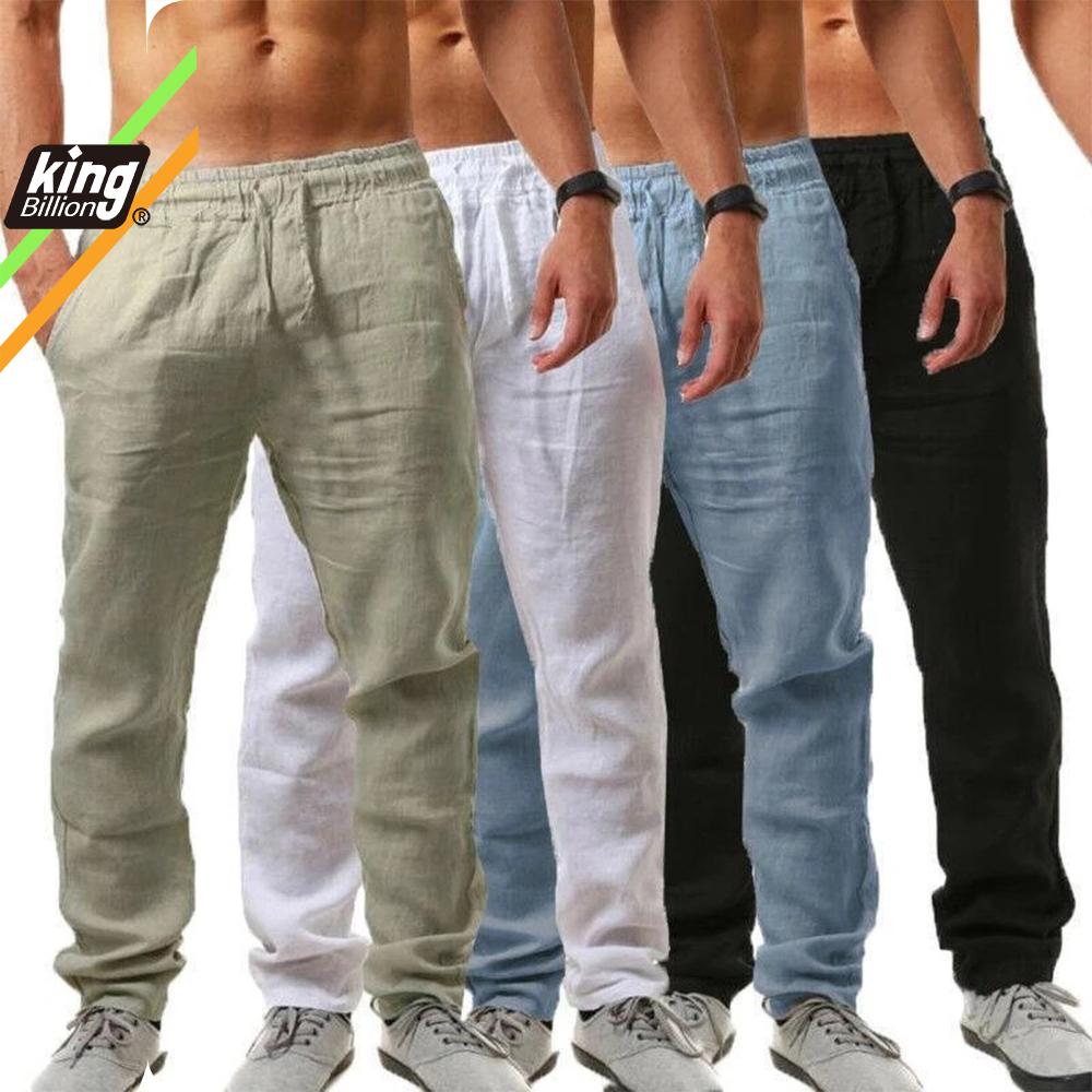 KB 2021New Men's Cotton Linen Pants Male Summer Breathable Solid Color Linen Trousers Fitness Streetwear S 3XL
