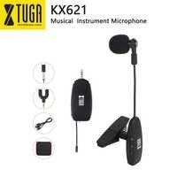 XTUGA KX621 Saxophon UHF Wireless Instrument Mikrofon Kondensator Mikrofon Clip Mic Schwanenhals Drahtlose Übertragung für Hörner