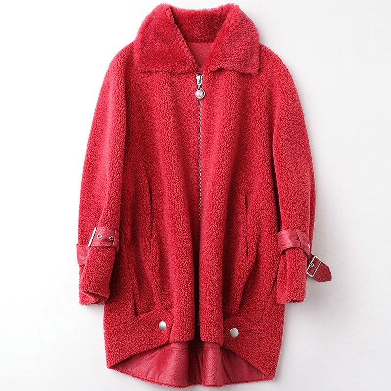 Real Fur Coat Female Wool Jacket Autumn Winter Coat Women Clothes 2020 Korean Vintage Sheep Shearling Tops Manteau Femme ZT4476