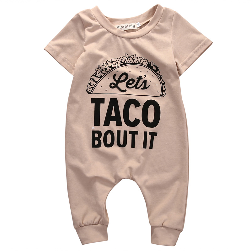 Focusnorm New Kids Baby Boys Girls Short Sleeve Letter Cotton Casual Romper Jumpsuit Clothes Outfit