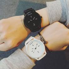 2019 NEW Couple Watches Casual Simple Silicone Band Strap Analog Black And White Quartz Couple Wrist Watches(China)
