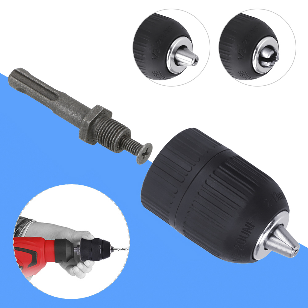 "1/2"" 20unf Drill Chuck Adaptor Tool Set  2-13mm Self Tighten Electronic For Impact Wrench Self-locking Keyless Universal"