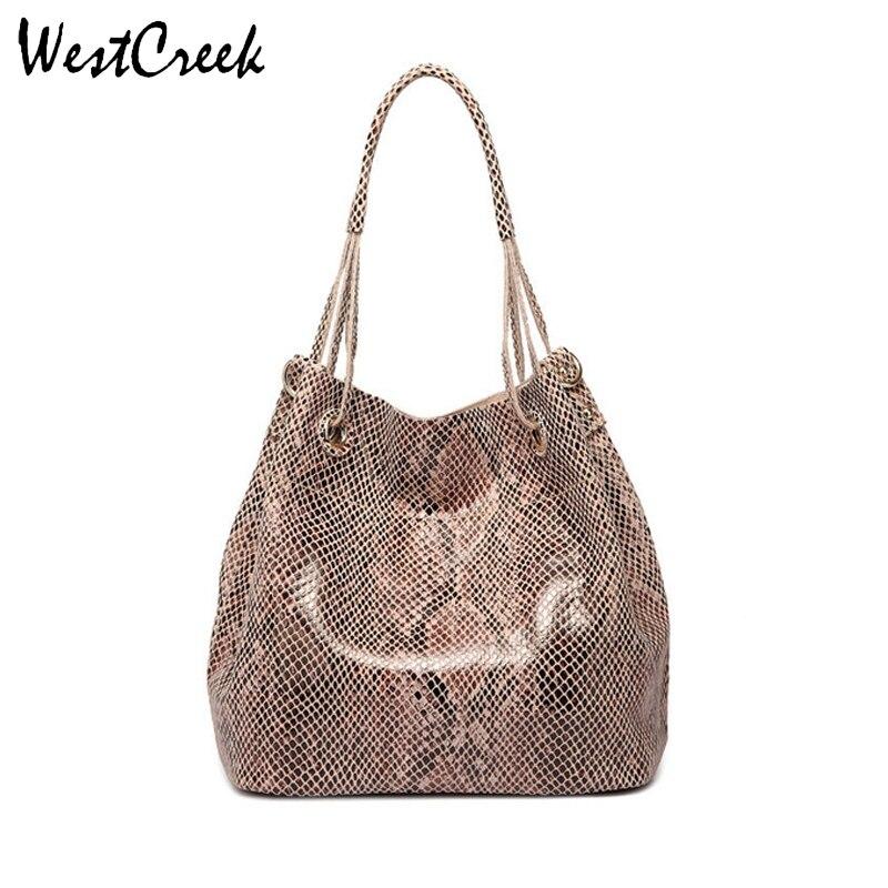 WESTCREEK แบรนด์ผู้หญิงกระเป๋าหนังแท้กระเป๋าถือหญิงแฟชั่นงูงูรูปแบบกระเป๋าถือขนาดใหญ่กระเป๋าสะพาย-ใน กระเป๋าหูหิ้วด้านบน จาก สัมภาระและกระเป๋า บน AliExpress - 11.11_สิบเอ็ด สิบเอ็ดวันคนโสด 1