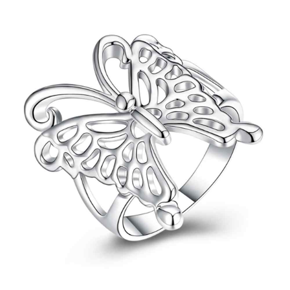 Fashion Silver Color Butterfly Ring Opening Adjustable Ring For Women Wedding For Women Valentine's gift 925 jewelry