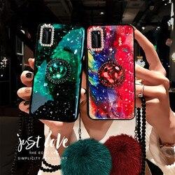 Bague en diamant brillant motif marbre émeraude vert pour Huawei P40 Pro Plus P30 Pro P20 Lite Nova 4 4E Nova 3 3i 3E 2S
