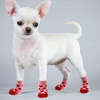 4pcs Warm Puppy Dog Socks Soft Pet Knits Socks Cute Cartoon Anti Slip Socks Warm Puppy Dog Shoes Small Medium Dogs Pet Product
