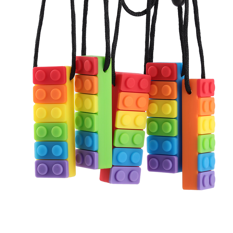 2PCS Rainbow Brick Chew Necklace Baby Silicone Teether Autism Sensory Chew Therapy Tools Kids Chewy Toys