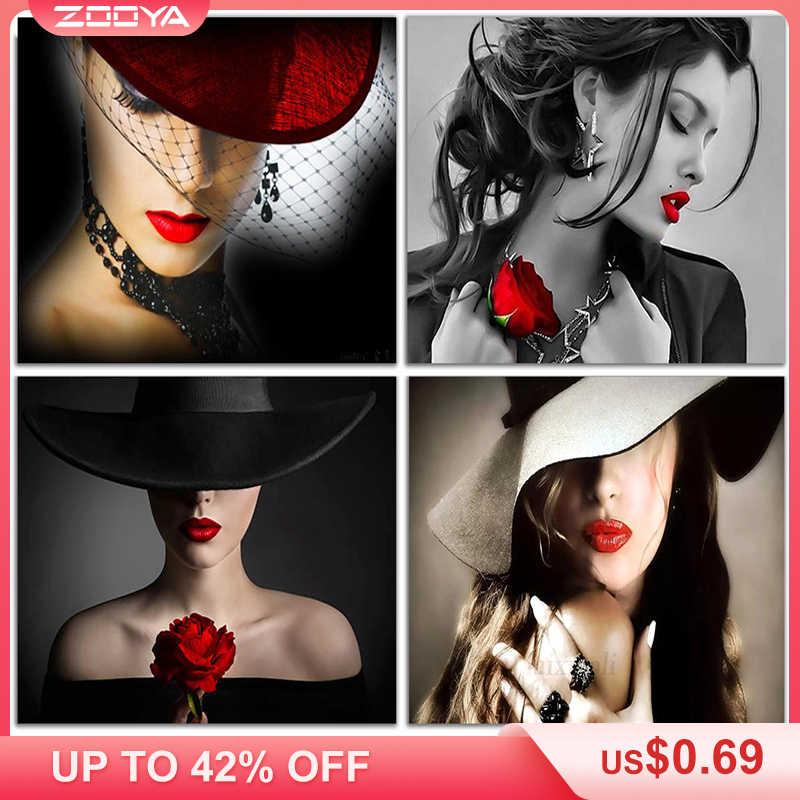 ZOOYA DIY เย็บปักถักร้อยเพชรภาพผู้หญิงสวยสีแดงหมวกและริมฝีปากสีแดงภาพวาดเพชรข้ามตะเข็บ Mosaic เต็มตกแต่ง BK441