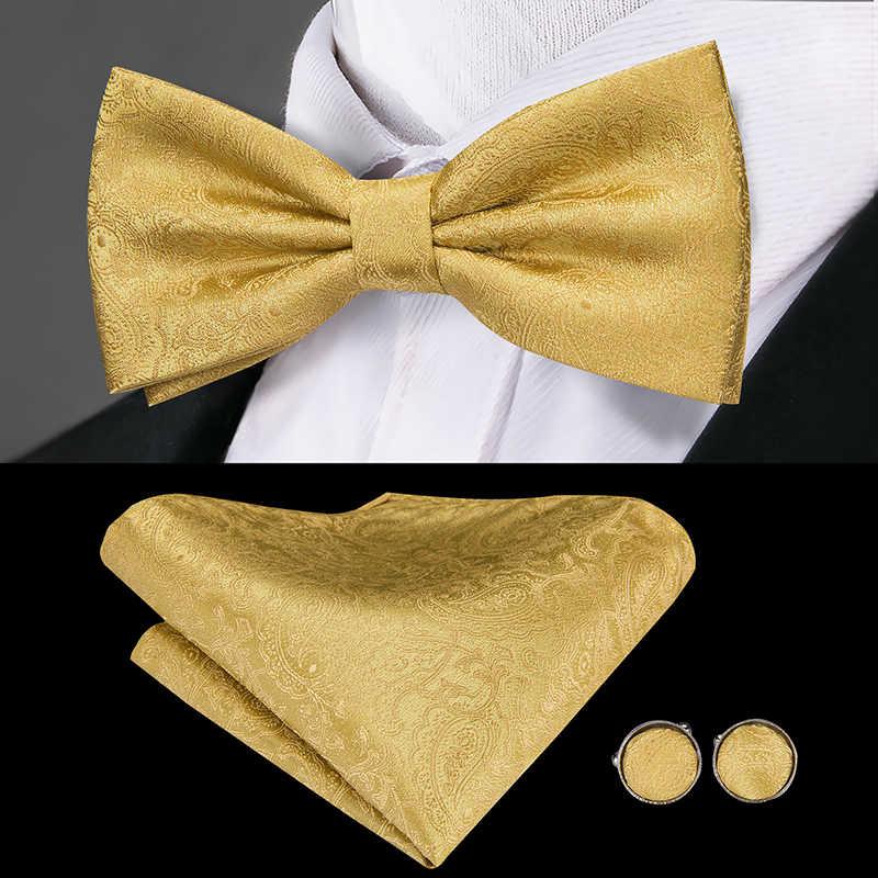 Hi-Tie lüks ipek yetişkin erkek kuşak altın papyon setleri Hanky kol düğmeleri seti resmi düğün parti smokin kuşak elastik